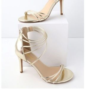 NWT Lulus Sexy Light Gold Strappy Stiletto Heels